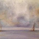 Gewitterwolken über offener See, Öl auf Pressholz (verkauft/ sold)