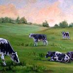 Milchkühe auf der Weide, Öl (Auftragsarbeit)