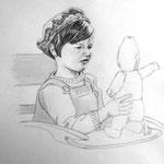 Ines mit Puppe, Bleistift