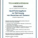 Qualifizierungskurs zur Betreuung von Menschen mit Demenz