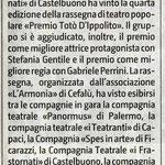 Rassegna teatrale ai Frastornati di Castelbuono (Giornale di Sicilia del 13 settembre 2017).
