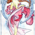 2004, alphons mucha, watercolour