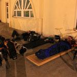Nachtlager am Vokzal, Bahnhof in Mary