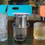 Vietnamesischer Kaffe...bin leicht ueberfordert mit all den Glaeschen...
