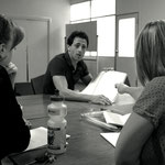 Considering the finer points of the script. l-r, Carmel, Roberto, Shannon.