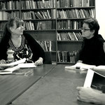 Lighting will play an important conceptual role in this production. Carmel (l) and Sue (r) discuss the mood of a scene.