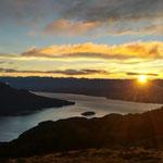 Sonnenaufgang am Mount Luxmore