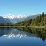 Lake Matheson: ein schöner Spiegel für  den  Mount Cook und Tasman