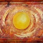 Sonnenauge, 53 x 70 cm, inkl. bemalter Rahmen.  Entstehungsjahr 2020     Mischtechnik auf Malplatte  Holzrahmen     Serie: Recycling Art  Kunstdruck übermalt.     Preis: 350,00 Euro