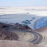Le désert, coincé entre le Pacifique et la cordillère ...