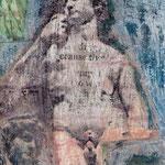 David, photo transfer on card, coloured pencil