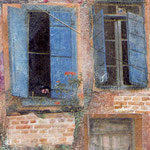 Crete windows, 2 photo transfer on card, coloured pencil