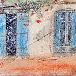 Crete windows, photo transfer on card, coloured pencil