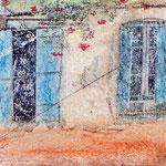 Crete windows, photo transfer on card, coloured pencil