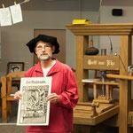 Die Werkstatt der Buchdrucker auf einer alten Zeichnung