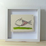 Finnpappe mit Malerei-Mischtechnik in dreidimensionaler Rahmung - Rahmenmaße: 23x23 cm - Titel: Fischkönig