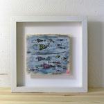 Finnpappe mit Malerei-Mischtechnik in dreidimensionaler Rahmung - Rahmenmaße: 23x23 cm - Titel: Fischkarte -verkauft-