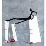 Linoldruck / Monotypie -  Motiv ca. 45 x 40cm - Blatt 80 x 60 cm - Auflage 4 - Balance- 2015