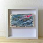Finnpappe mit Malerei-Mischtechnik in dreidimensionaler Rahmung - Rahmenmaße: 23x23 cm - ohne Titel -verkauft-
