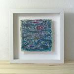 Finnpappe mit Malerei-Mischtechnik in dreidimensionaler Rahmung - Rahmenmaße: 23x23 cm - Titel: Alle meine Fische -verkauft-