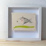 Finnpappe mit Malerei-Mischtechnik in dreidimensionaler Rahmung - Rahmenmaße: 23x23 cm - Titel: Fischkönigin -verkauft-