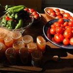 Mirabelles, poivrons du jardin