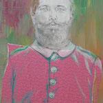 """""""Unbekannter Vorfahre"""", Collage auf Leinwand, 70x50cm, 2014"""