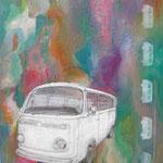 """Bulli"", Collage auf Leinwand, 60x50cm, 2014"