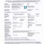 Zertifikat Qualifizierung von Schweißverfahren