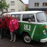 Beim Besuch von SR3 und dem GuMo Mobil am 21.05.2019 beim BBK in Kirkel (vl.n.r.: Hans-Peter Schmitt, Michael Knauber, Hans-Werner Speicher, Lilli Schumacher)