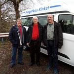 04. Januar 2019: Eintreffen des Busses in Kirkel mit Hans-Peter Schmitt, Holger Janes, Stefan Guckert (v.l.n.r.)