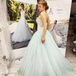 Verlobungskleid in Türkis, Prinzessinnen Style mit Tüll und Spitze. Gr 34-36