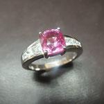 Bague saphir rose et diamants,, Joaillerie Tournis, Bordeaux, fabricant