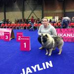 Wolfsspitzbaby JAYLIN von der Römerroute mit ihrem stolzen Frauchen in Belgien