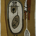 EGO-RAUM+LANDSCHAFT, 1992, Asche, Russ, Kalk, Pigment auf Papierpappe/Gaze, 101 x1 45 cm