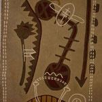 ReISE WEG I , 1996, Asche, Kalk, Sand, Pigment  auf Leinen, 159 x 223 cm