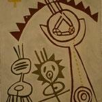 REISE- WEG II, deutsch-brasilianisches Pleinair Contrapartida, 1996, Asche, Sand, Pigment auf Leinen, 159 x 230 cm