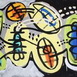 Gespräch, 2000, Acryl auf Karton, 102 cm x 73 cm