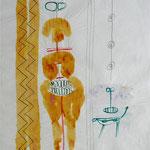 Zu Selbst mit Dämonen, 1995 Graphit, Tusche auf Seidenpapier