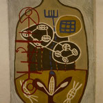 REISE, 1996, Asche, Ruß, Kalk, Sand auf Leinen 159 x  234 cm