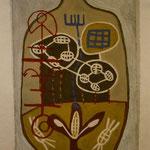 REISE, deutsch-brasilianisches Pleinair Contrapartida, 1996, Asche, Ruß, Kalk, Sand auf Leinen 159 x  234 cm