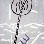 EGO-RAUM+LANDSCHAFT, 1992, Asche, Ruß, Kalk, Pigment, Papierpappe/Gaze, 100 x 143,5
