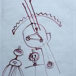 zu SEELENREISE, 1996, Tusche auf Seidenpapier