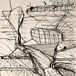 """Zeichnung zu """"EGO - Raum + Landschaft"""", Tusche, Achatpapier, 25 x 36,5 cm"""