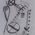 Zur Seelenreise, 1996, Zeichnung, Tusche auf Seidenpapier