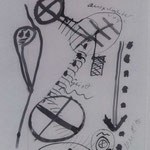 Seelenreise, 1996, Zeichnung, Tusche auf Seidenpapier