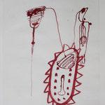 Zur Seelenreise, 1996, Tusche auf Seidenpapier