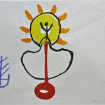 Versöhnungszeichen, 2005, Kreide, Tusche auf Japanpapier