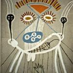 Selbst mit Dämonen, 1995, Asche, Russ, Kalk, Sand, Pigment, Gaze auf Papierpappe, 140 cm x 2oo cm