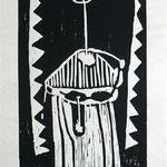Zu: Selbst mit Dämonen, 1995, Holzschnitt auf Seidenpapier